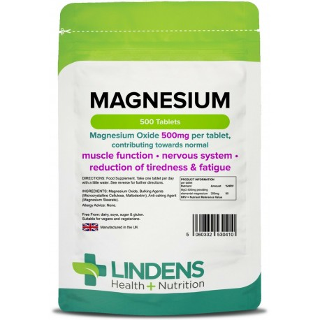 Magnesium MgO 500mg Tablets (500 pack) [Lindens 0410]