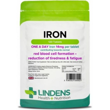 Iron 14mg one-a-day Tablets (120 pack) energy anaemia [Lindens 5552]