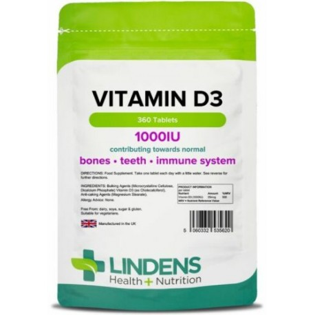 Vitamin D3 1000IU (25mcg) mood, bone/immune health (360 tablets) [Lindens 5620]