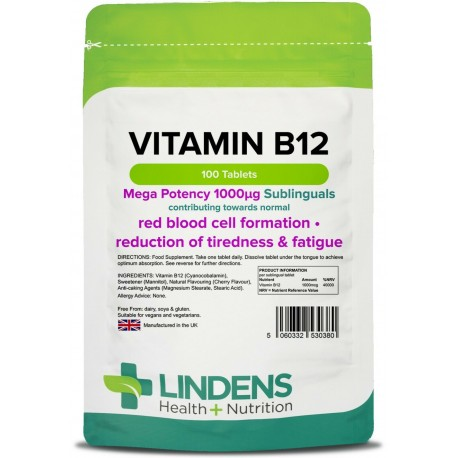 Vitamin B12 1000mcg sublingual tablets (100 pack) [Lindens 0380]