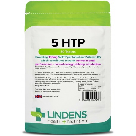 5-HTP 100mg Tablets (60 pack) - 5HTP one a day [Lindens 2452]