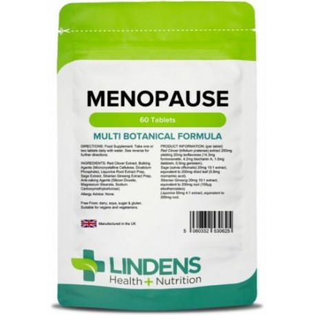 Menopause Tabs with Sage, Red Clover, Siberian Ginseng (60pack) [Lindens [0625]