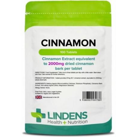 Cinnamon 2000mg Tablets (100 pack) [Lindens 1738] *Lower Blood Sugar, Diabetes
