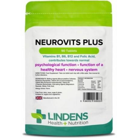 Neurovits Plus (90 Tablets) Vitamin B1, B6, B12, Folic Acid [Lindens 5033]