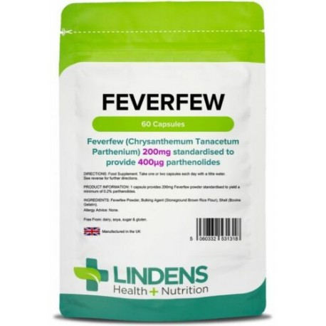Feverfew 200mg Capsules (60 pack) Standardised 0.4mg Parthenolide [Lindens 1318]