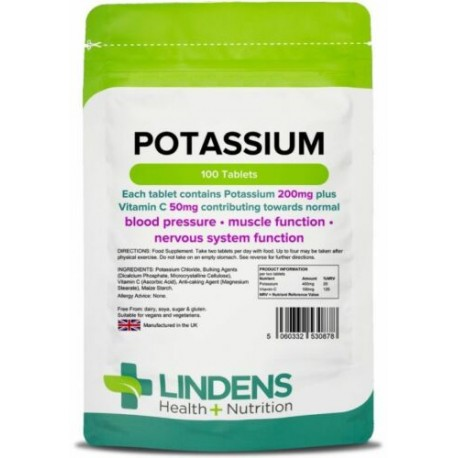 Potassium 200mg Tablets (100 pack) supports normal blood pressure [Lindens 0878]