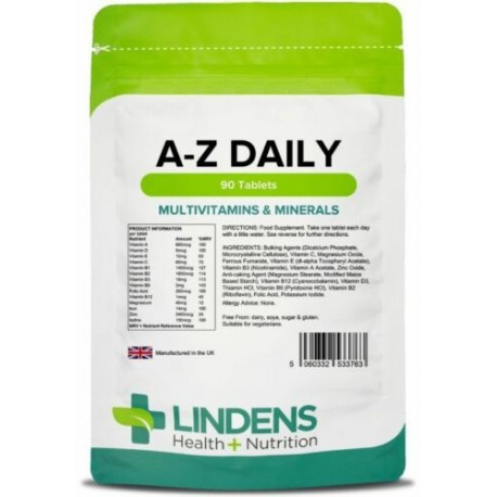 Multivitamin & Minerals A-Z Daily tablets (90 pack) one-a-day [Lindens 3763]
