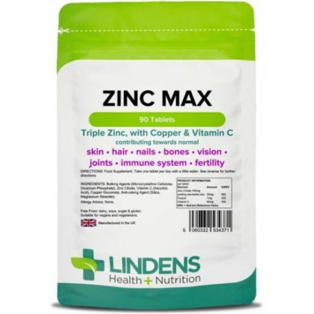 Zinc Max Tablets (90 pack) Triple Strength Zinc with Copper & Vitamin C Lindens