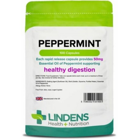 Peppermint Oil Capsules 50mg (100 pack) Essential Oil, Wind, Gas [Lindens 1400]