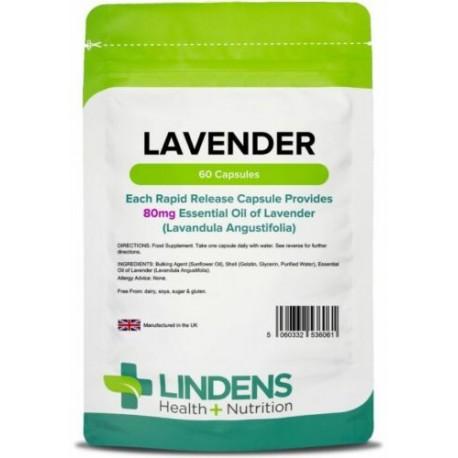 Lavender (Essential Oil) 80mg capsules (60 pack) [Lindens 6061]