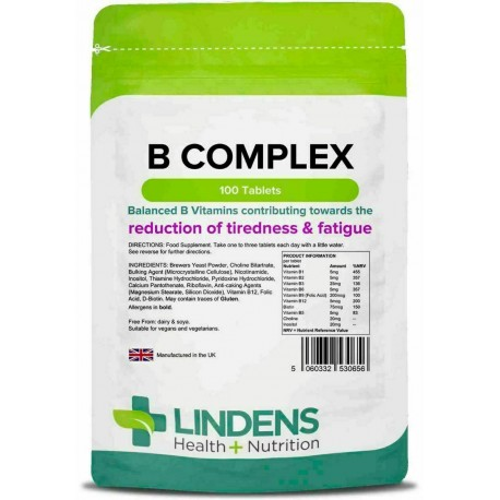 Vitamin B Complex Tablets (100 pack) x9 B-vitamins, high strength [Lindens 0656]