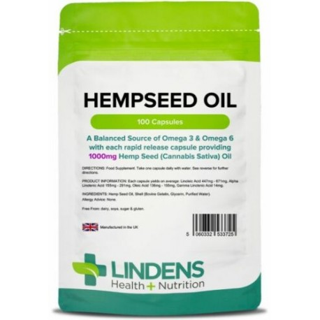 Hemp Seed (hempseed) Oil 1000mg healthy hair, skin & brain (100 capsules) [3725]