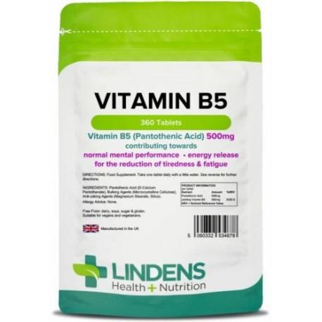 Lindens Vitamin B5 (pantothenic acid) 500mg (360 tablets) stress, energy, skin