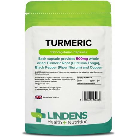 Lindens Turmeric 500mg whole root antioxidants, anti inflammatory (100 capsules) [0038]