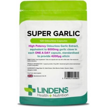 Super Garlic 6000mg odourless Capsules (120 pack) High Allicin potency [0960]